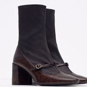 Zara Woman leather Mary Jane booties